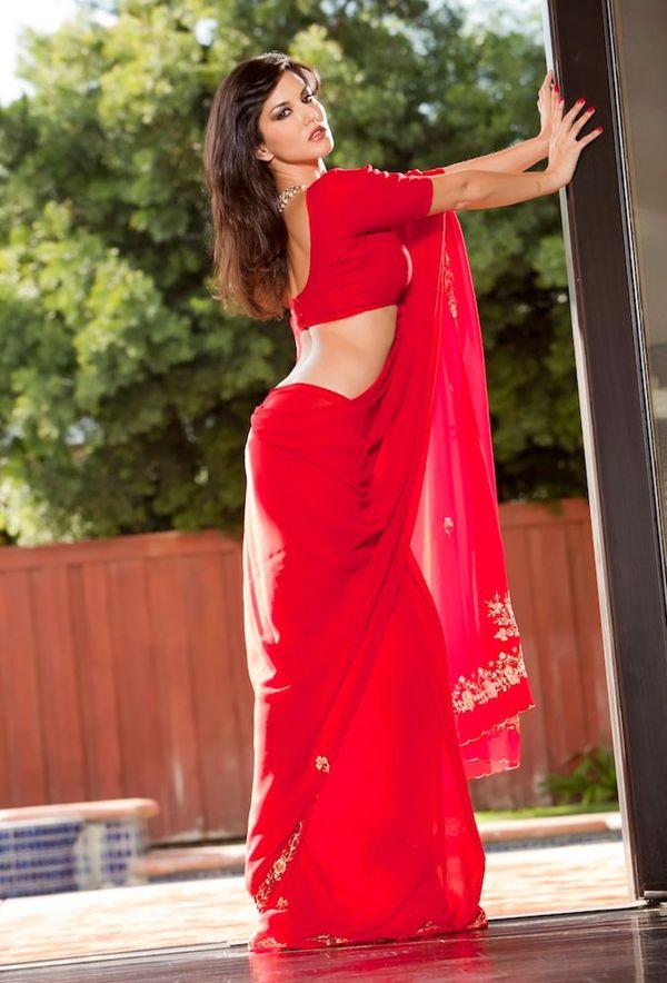 Sunny Leone Sexy In Red Saree Sunny Leone Hot Wallpapers
