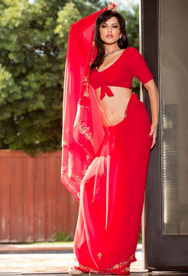 Sunny Leone Sexy In Red Saree  Sunny Leone Hot Wallpapers -2968